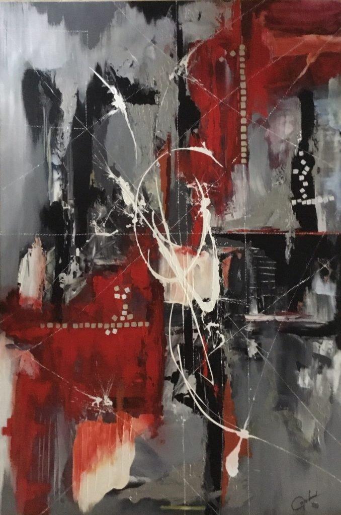 #patriciacopeland #blackwhiteredgrey #copelandartist. # copelandartiste #abstractart #artabstrait #frenchcanadianartist