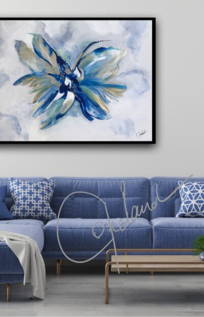 Art abstrait décor, décoration blue art,